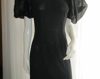 1980's Ladies Black PUFF SLEEVE Dress by Rimini