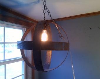 Industrial orb light fixture pendant lamp