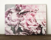 Peony Wooden Wall Art, French Country Wood Sign, Pink Flower Picture, Feminine Home Decor, Shabby Chic Artwork, Cottage Wall Art, Nature Art
