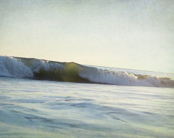 Beach House Decor, Oversized Art Print, Green Wall Art, Ocean Photograph, Surf Photography, Vintage Wave Picture, Retro Coastal Photo