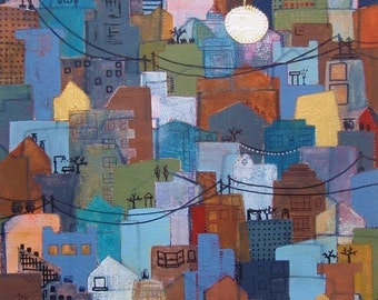 Layered City (Homes Past and Present) Fine Art Print