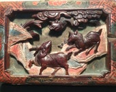 Antique Chinese carved wood panel with old paint