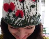 Crochet hat Beanie  crochet hat knitted beret felting hat poppies hat  handmade hat  art hat