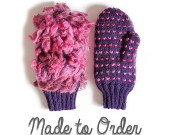 Thrummed Mittens knitted and Insulated with 100% Wool Roving // Made to Order