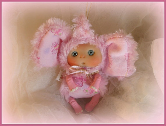 Pink Elephant Cute Baby Doll Christmas Stocking Staffers