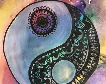 Rainbow Zentange Yin Yang Painting
