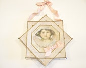 1800's German Die Cut Angel in Thread Frame, Pink Ribbon, Large Antique Victorian Christmas Star Ornament