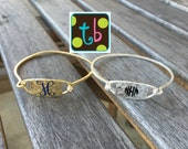 Personalized Monogram Silver or Gold Bracelet Bangle
