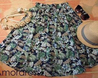 """Tropical Hibicus Skirt - Garden Summer Beach Skirt - Midi Skirt Mid Skirt - Floral Skirt - Kitsch Skirt - Dancing Skirt- Waist 26""""-28"""""""