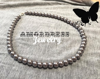 SMOKEY GRAY Dark Silver Gray Pearl Necklace Pearl Gray Necklace Prom Wedding Gothic Party Necklace Classy Short Necklace