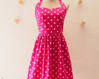 SALE Pink Summer Dress Polka dot Dress Garden Dress Pink Party Dress Retro Modern Dress Pink Bridesmaid Rockabilly Dress Plus Size-XS, S , M