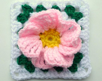 Instant Download PDF crochet pattern - Flower in granny square (2)