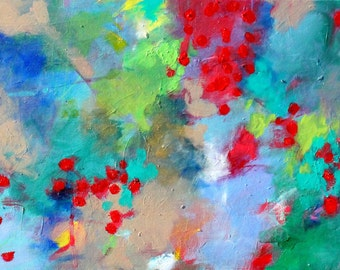 "Abstract Expressionist Painting on Wood, Red, Green, Gestural, ""Rose Hips"" 10x24 Long"