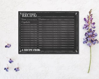 Chalkboard Recipe Card - bridal kitchen shower chalkboard - DIY printable