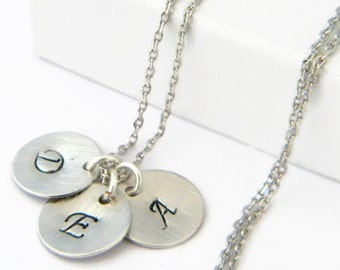 Silver Initial Necklace - Choose Up to 5 Disc Pendants