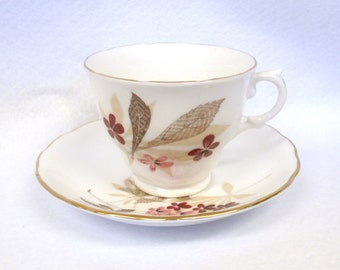 Royal Vale Teacup and Saucer Set with Red and Pink Flowers, Brown and Cream Leaves