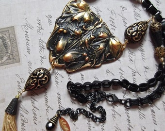 Matte Black Brass, Black & Gold, Victorian Style Beads, Black Book Chain, Maple Leaves, Art Nouveau, Statement, Tassel Necklace