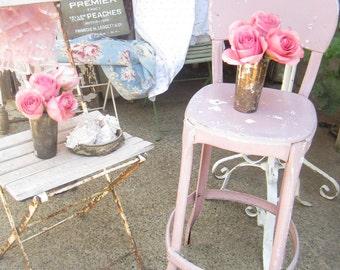 pink metal stool chippyoriginal  painted shabby chic stool farmhouse  prairie cottage