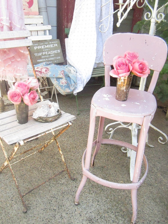 pink metal stool chippyoriginal painted shabby chic stool. Black Bedroom Furniture Sets. Home Design Ideas