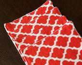 Cloth Unpaper Towels Red Quatrefoil Reusable Flannel Wipes Set of 4