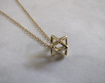 Merkaba Necklace, 14K Gold Merkaba Charm on a Fine Chain, Solid Gold Merkaba Pendant, Original Jewelry