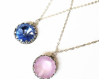 Swarovski Pink Crystal Necklace Pink Rose Crystal Necklace Pantone Color of the Year Sterling Silver Pendant Wedding Bridesmaids Gift Idea