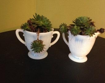 Group of vintage Milk Glass-sugar bowl, creamer and vase