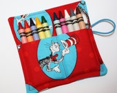 READY TO SHIP! Crayon Rolls made from Dr. Seuss Cat in the Hat fabric, holds up to 10 Crayons, Cat in the Hat Birthday Party Favors