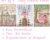 Girl's Pink Fairy Princess Wall Art,  Set Of 3 Fine Art Prints, All Personalized, Princess Castle, Fairy Tea Party, Enchanted Forest, Garden