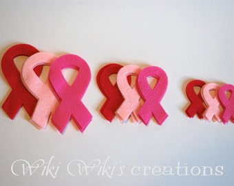 Breast Cancer Pink Ribbon Felt Cut Outs- Pack of 18