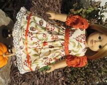 Handmade Doll Clothes fits/for 18 inch American Girl Doll ~ Orange, Green & Burgundy Autumn / Fall Print Dress ~ Leaves Acorns Berries