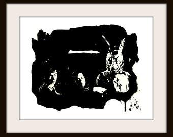Donnie Darko Inspired Painting Print Frank the Rabbit Bunny Movie Scene