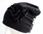 Jersey Beanie Hat - Black - Rosette - Ruched