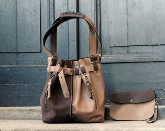 beige/ dark brown handmade leather handbag JENNY ladybuq art studio big leather bag