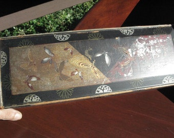 Gorgeous Asian Lacquered Box with Original Painting Inside