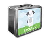 Puppy Lunch Box - Personalized Kids Lunch Box - Vintage Metal Lunch Box - Chalkboard Lunchboxes