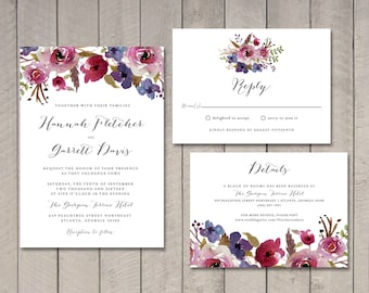 Luxe Floral Wedding Invitation, RSVP, Information Card (Printable) by Vintage Sweet