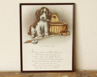 Fathers Day Gift Vintage Wall Art Fishing Picture Hanging Sentiment Poem Birthday Fathers Day Dog