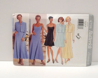 Slip Dress Cropped Jacket 1990s Never Used Butterick 4798 Sewing Pattern Spaghetti Strap Dress Maxi Mini Princess Seam uncut Size 14 16 18