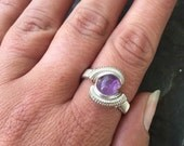 Wire Wrapped Ring, Size 8 Amethyst Wire Wrap Ring, Wire Wrapped Amethyst Ring, Amethyst Ring in Sterling Silver