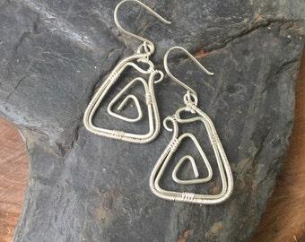 Wire Wrap - Wire Wrap Earrings - Sterling Silver Earrings - Wire Wrapped Earrings - Spiral Earrings - Sterling Silver Spirals - Geometric