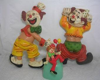 Vintage Homco Wall Hanging Clown Plaques & Enesco Clown Shelf Sitter