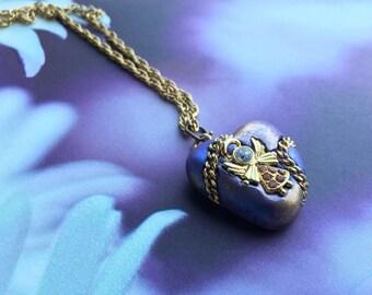 Golden Rhinestone Angel  - Lavender, Silver, Topaz, Rhinestones Pendant Necklace - Embedded Angel