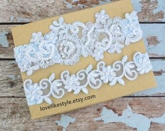 Wedding Garter Set, Something Blue, Hand Dyed Light Blue Pearl Beaded Lace Wedding Garter Set , Ivory Lace Garter Set, Wedding Garter/ GT-44