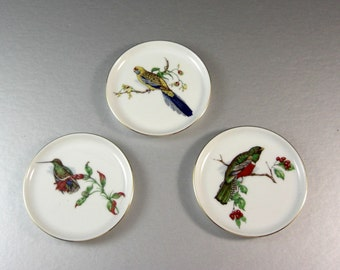 Porcelain Beverage Drink coasters / Birds / Furstenberg West Germany / Set of 3