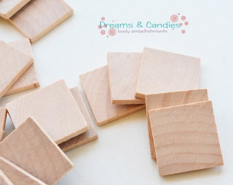 """50 Unfinished Wooden Square 1"""" -Small Wooden Squares -Wooden Squares Supplies -Natural Wood Squares -Wood Squares Blanks"""