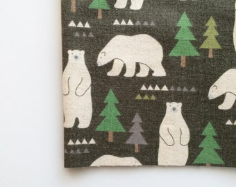 Nordic Bears in Green by Kokka Fabrics, Trefle Nordic Bears