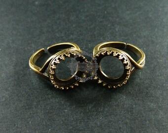 5pcs 14MM setting size round vintage bronze ring bezel tray adjustable ring fashion ring DIY supplies 1211059