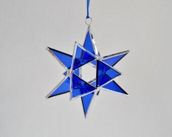 "12 Point Moravian Star. Cobalt Christmas Star. 3D Stained Glass Suncatcher. 3,5"" star."
