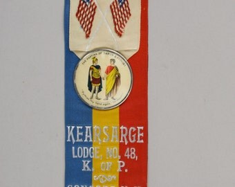 Antique Knights of Pythias Double Sided Pin, Concord NH Kearsarge Lodge No.48 Great Details